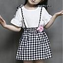 זול סטים של ביגוד לבנות-סט של בגדים חוטי זהורית קיץ שרוולים קצרים יומי ליציאה משובץ דמקה בנות יום יומי סגנון רחוב לבן