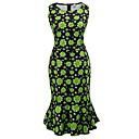cheap Racks & Holders-Women's Holiday Slim Sheath Dress - Floral High Waist