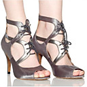 cheap Women's Sandals-Women's Shoes PU(Polyurethane) Spring / Summer Comfort Sandals Stiletto Heel Black / Gray / Nude