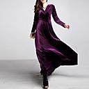 abordables Pelucas para Disfraz-Mujer Tallas Grandes Terciopelo Corte Swing Vestido Un Color Tiro Alto Maxi Escote en Pico