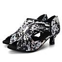 olcso Latin cipők-Női Latin cipők / Modern cipők Streccs szatén Szandál / Magassarkúk Virág Kúpsarok Személyre szabható Dance Shoes Fekete / Haditengerészet