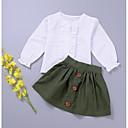 tanie Zestawy ubrań dla dziewczynek-Brzdąc Dla dziewczynek Solidne kolory Długi rękaw Bawełna Komplet odzieży Zieleń wojskowa 100