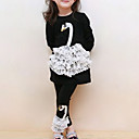 cheap Girls' Dresses-Toddler Girls' Cartoon / Lace Holiday / Going out Patchwork Print Long Sleeve Cotton Clothing Set