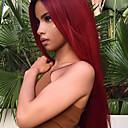 povoljno Bojane ekstenzije-Remy kosa Netretirana  ljudske kose Lace Front Perika Bob frizura Kratak Bob Rihanna stil Brazilska kosa Ravan kroj Burgundac Perika 130% Gustoća kose s dječjom kosom Prirodna linija za kosu