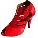 رخيصةأون أحذية لاتيني-للمرأة أحذية رقص / أحذية سالسا ستان كعب كعب مخصص مخصص أحذية الرقص أبيض / أسود / أحمر / داخلي