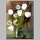 cheap Prints-Oil Painting Hand Painted - Still Life Floral / Botanical Classic Canvas