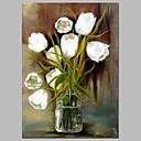 זול ציורים מופשטים-ציור שמן צבוע-Hang מצויר ביד - טבע דומם פרחוני / בוטני קלסי כלול מסגרת פנימית / בד מתוח