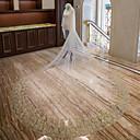 preiswerte Untersetzer Gastgeschenke-Zweischichtig Spitzen-Saum Brautkleidung Hochzeitsschleier Kapellen Schleier Kathedralen Schleier Mit Blütenblätter Verstreute Perlen mit