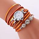cheap Bracelet Watches-Women's Quartz Bracelet Watch Chinese Imitation Diamond Casual Watch PU Band Casual Bohemian Black White Blue Orange Pink Rose