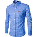 cheap Men's Sneakers-Men's Work Slim Shirt - Plaid Print Spread Collar / Long Sleeve