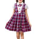 olcso Lány ruhák-Gyerekek Lány Fekete-fehér kockás Pléd / takaró Rövid ujjú Ruha / Pamut