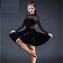 tanie Stroje do tańca latino-Taniec latynoamerykański Sukienki Damskie Spektakl Tiul / Szyfon aksamitny Marszcząca się / Materiały łączone Długi rękaw Sukienka