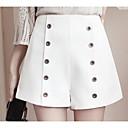 baratos Colares-Mulheres Básico Tamanhos Grandes Shorts Calças - Sólido Estampado Branco