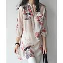 abordables Camisas y Camisetas para Mujer-Mujer Chic de Calle Camisa, Escote Chino Corte Ancho Floral Verde Trébol XL