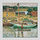 tanie Torby tote-Hang-Malowane obraz olejny Ręcznie malowane - Krajobraz Nowoczesny Brezentowy / Rozciągnięte płótno
