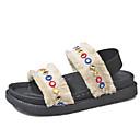 baratos Sandálias Femininas-Mulheres Sapatos Pele Nobuck Verão Conforto Sandálias Caminhada Salto Plataforma Lantejoulas / Presilha Branco / Preto