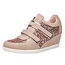 cheap Women's Sneakers-Women's Shoes Paillette / Cowhide Spring / Fall Comfort Sneakers Wedge Heel Closed Toe Sequin Black / Pink