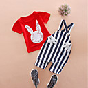 cheap Boys' Clothing Sets-Unisex Daily Holiday Print Clothing Set, Cotton Acrylic Spring Summer Short Sleeves Cute Active White Red
