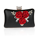 cheap Clutches & Evening Bags-Women's Bags Polyester / PU(Polyurethane) Evening Bag Crystals / Flower Floral Print Silver / Red / Fuchsia