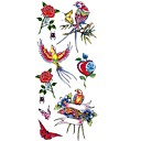abordables Tatuajes Temporales-1 pcs Tatuajes Adhesivos Los tatuajes temporales Series de Animal / Series de Flor Impermeable Artes de cuerpo Cuerpo / brazo / hombro