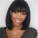 cheap Synthetic Capless Wigs-Synthetic Wig Straight Bob Haircut Synthetic Hair Heat Resistant / With Bangs Black Wig Women's Mid Length Capless Natural Black / Yes