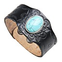 cheap Men's Bracelets-Men's Turquoise Leather Bracelet - Leather Vintage, Rock Bracelet Black / Brown For Street Club