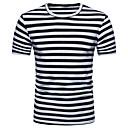 billige Antrekk til latindans-Bomull Tynn Rund hals T-skjorte Herre - Stripet / Fargeblokk, Trykt mønster Gatemote Sport / Kortermet
