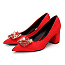 cheap Women's Heels-Women's Shoes Silk Spring / Fall Basic Pump Heels Chunky Heel Pointed Toe Rhinestone / Imitation Pearl Red / Light Pink