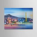 tanie Wydruki-Hang-Malowane obraz olejny Ręcznie malowane - Abstrakcja / Krajobraz Nowoczesny Brezentowy / Zwijane płótno