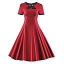 cheap Wedding Shoes-Women's Plus Size Vintage Cotton Slim Swing Dress - Solid Colored Red, Bow
