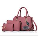 preiswerte Taschensets-Damen Taschen PU Bag Set 3 Stück Geldbörse Set Federn / Pelzl Schwarz / Rosa / Grau