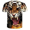 preiswerte Motorradbeleuchtung-Herrn Tier - Grundlegend Baumwolle T-shirt, Rundhalsausschnitt Druck / Kurzarm