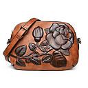 ieftine Genți Umeri-Pentru femei Genți PU piele Umăr Bag Embosat Print Floral Trifoi / Roșu-aprins / Maro