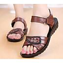 זול סנדלי נשים-בגדי ריקוד נשים עור קיץ נוחות סנדלים שטוח שחור / חום / Wine