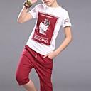 رخيصةأون بنطلونات الأولاد-صبيان يوميا ذهاب للخارج طباعة مجموعة ملابس, بوليستر ربيع صيف كم قصير نشيط أزرق أحمر