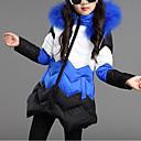 cheap Girls' Jackets & Coats-Girls' Patchwork Down & Cotton Padded, Polyester Winter Fall Long Sleeves Blue Fuchsia