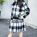 זול סטים של ביגוד לבנות-סט של בגדים חוטי זהורית אביב סתיו שרוול ארוך יומי ליציאה משובץ דמקה בנות יום יומי סגנון רחוב שחור אודם