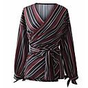 billige Lampesokler og kontakter-Tynn V-hals Skjorte Dame - Stripet Grunnleggende