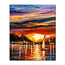 cheap Oil Paintings-STYLEDECOR® Modern Hand Painted the Sailboat in the Sunset Oil Painting on Canvas for Living Room On Wrapped Canvas