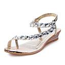 preiswerte Damen Sandalen-Damen Schuhe Kunstleder Frühling / Sommer Komfort / Neuheit / Modische Stiefel Sandalen Niedriger Heel Gold / Silber / Party & Festivität