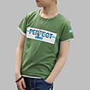 baratos Camisas para Meninos-Para Meninos Diário Para Noite Estampado Camiseta, Algodão Primavera Verão Manga Curta Activo Azul Verde
