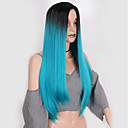 cheap Synthetic Capless Wigs-Wig Accessories Women's Straight Blue Layered Haircut Synthetic Hair Middle Part Blue Wig Long Capless Black / Green