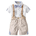 cheap Party Headpieces-Toddler Boys' Vintage / Street chic School Color Block Patchwork Short Sleeve Cotton Clothing Set