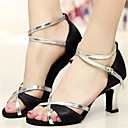 ieftine Pantofi Dans Latin-Pentru femei Pantofi Dans Latin Mătase Călcâi Toc Stilat Pantofi de dans Negru și Auriu / Argintiu / negru / Performanță / Piele / Antrenament