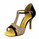 povoljno Cipele za latino plesove-Žene Plesne cipele Saten / Svila Cipele za latino plesove / Cipele za salsu Kopča / Ukrasna trakica Sandale / Štikle Potpetica po mjeri Moguće personalizirati Bronza / Badem / Nude / Koža / EU39