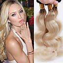 tanie Peruki z włosów ludzkich-3 zestawy Włosy brazylijskie Falowana Włosy virgin Pakiet One Solution Blond Ludzkie włosy wyplata Miękka / Damskie / Gorąca wyprzedaż Ludzkich włosów rozszerzeniach Damskie