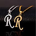 זול שרשראות תליון-בגדי ריקוד גברים זירקונה מעוקבת שרשראות תליון מונוגרם Alphabet Shape אותיות אופנתי היפ הופ נחושת זהב כסף 55 cm שרשראות תכשיטים עבור מתנה יומי