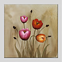 cheap Prints-Oil Painting Hand Painted - Floral / Botanical Modern Stretched Canvas