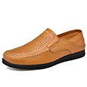 رخيصةأون أحذية سليب أون وأحذية مفتوحة للرجال-رجالي أحذية جلدية جلد الربيع / الصيف الأعمال التجارية / كاجوال المتسكعون وزلة الإضافات متنفس أسود / بني
