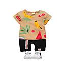 ieftine Set Îmbrăcăminte Băieți Bebeluși-Bebelus Unisex Activ Zilnic Fruct Imprimeu Manșon scurt Regular Bumbac / Poliester Set Îmbrăcăminte Maro 100 / Copil